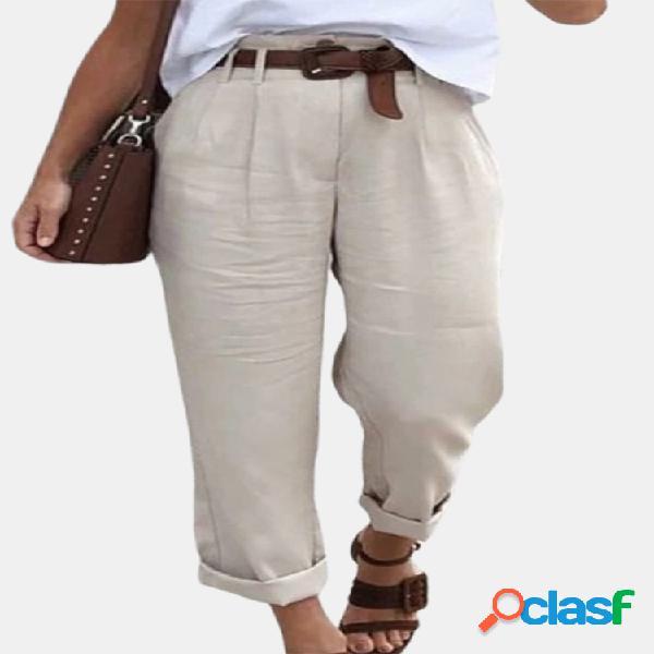 Bolsillos de cintura alta color liso casual pantalones para mujer