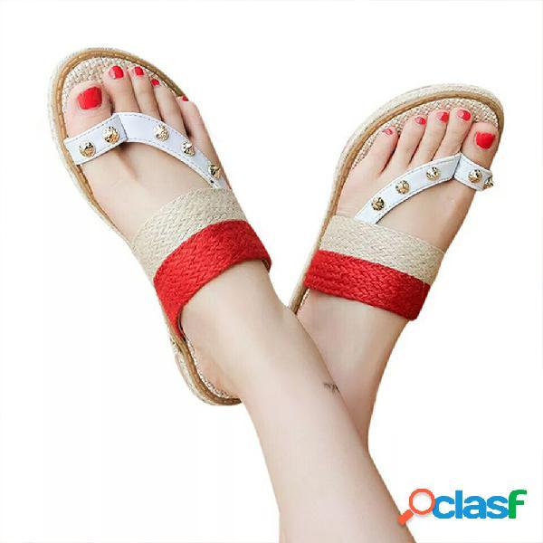 Mujer casual clip toe rivet trenzado plana zapatillas