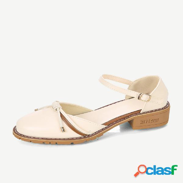 Zapatos de tacón medio para mujer new hundred tower bow small shoes hollow sandalias mujer