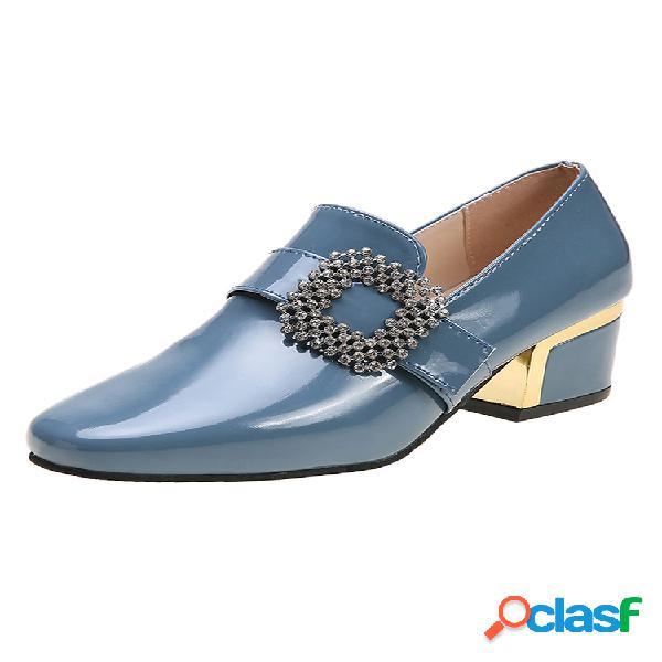 Zapatos de mocasines sin cordones de color liso para mujer zapatos de tacón grueso con diamantes de imitación elegantes y elegantes