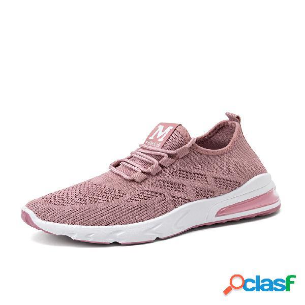 Zapatos para correr con cordones de amortiguación usable transpirable de malla casual para mujer