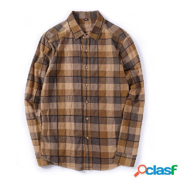 Solapa de manga larga para hombres camisa algodón retro casual camisa tartán para hombres camisa otoño nuevo