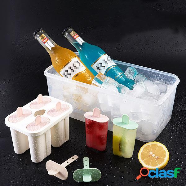 Bebé niños familia reutilizable congelado molde de hielo hecho en casa diy helado jugo de yogur fruta con cerradura tapas