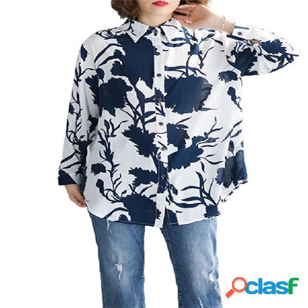 Solapa estampado floral manga larga camisa para mujer