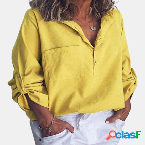 Casual color liso con cuello en v plus talla blusa para mujer