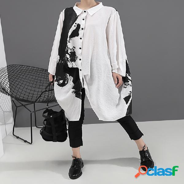 Impresión de tinta manga larga solapa casual camisa vestido para mujer