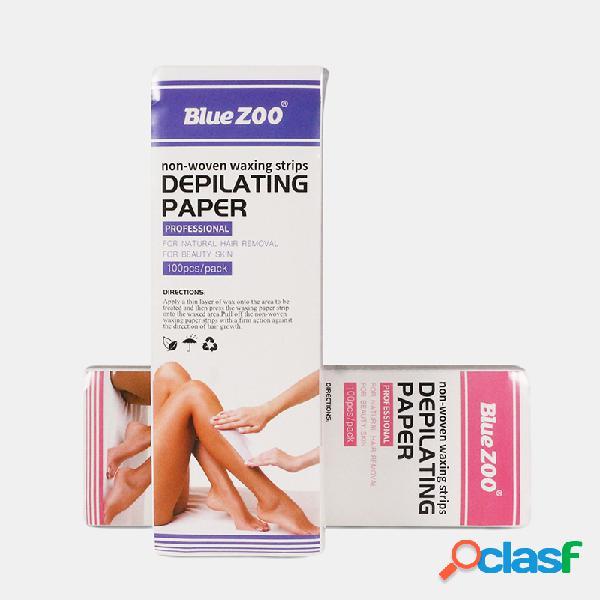 100 piezas de tela no tejida de eliminación cabello retire rollos de papel de cera de alta calidad cabello eliminación de papel de tira de cera