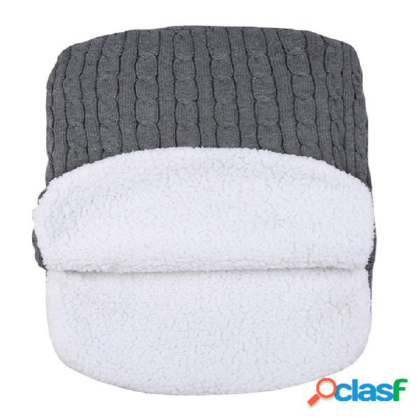 Bebé durmiendo bolsa invierno cálido tejido de lana capucha abrigo lindo soft manta infantil