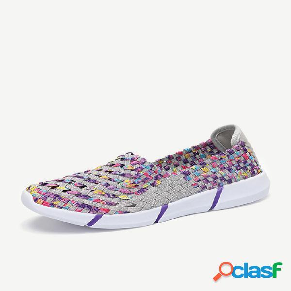Zapatos casuales tejidos de punto para mujer