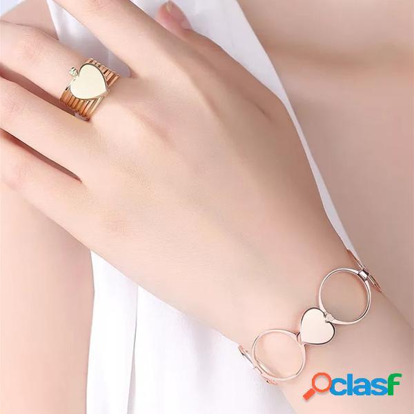 Único corazón anillos de dedo apilable multicapa 2 en 1 pulsera de anillo de doble propósito para mujer
