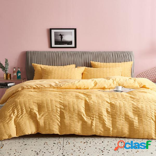 Textiles para el hogar soild color bubble gasa tres juegos de ropa de cama