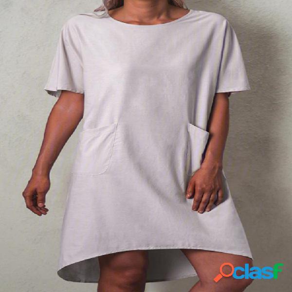 Casual color liso manga corta plus talla vestido con bolsillos