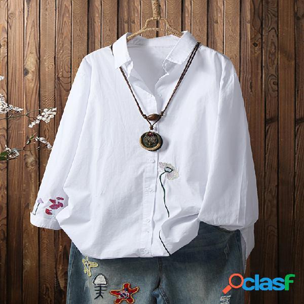 Solapa de manga larga con bordado de flores plus talla casual camisa