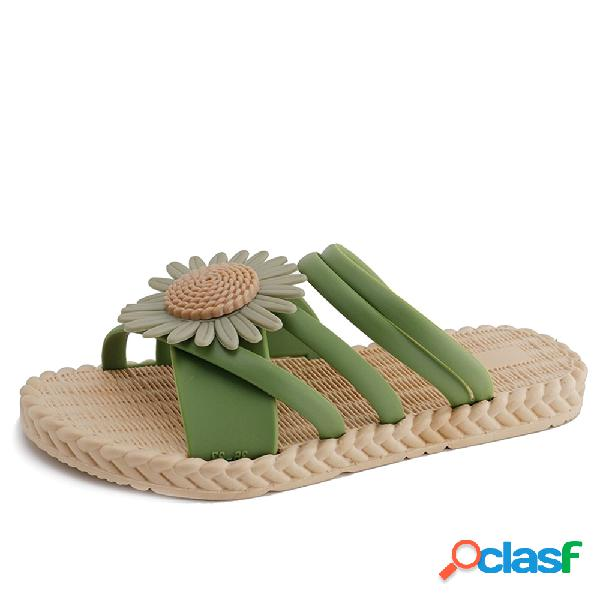 Moda de verano playa al aire libre flor trenzada plana para mujer zapatillas