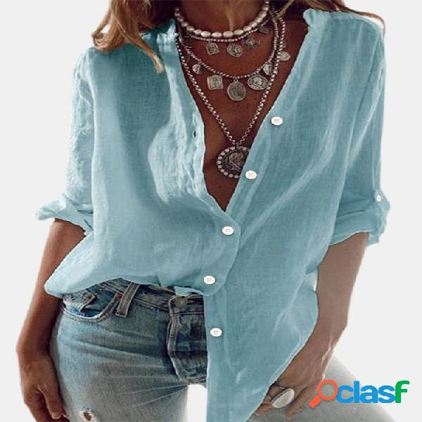Cuello alto de manga larga de color liso casual camisa para mujer