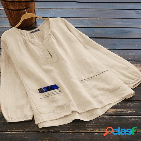 Casual color liso con cuello en v manga larga plus talla blusa con bolsillos