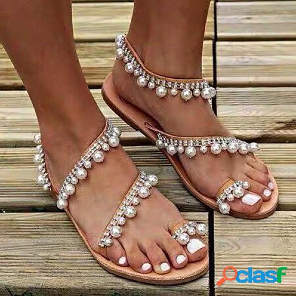 Mujer gran tamaño faux pearl decor strappy fashion sandalias