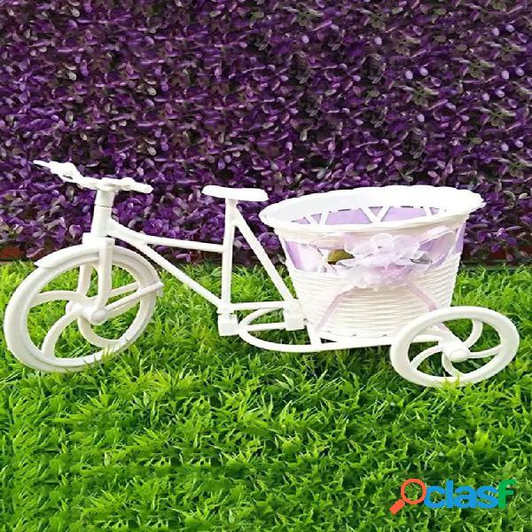 Flores artificiales bicicleta triciclo contenedor diseño diy cesta para flor planta decoración para bodas en el hogar