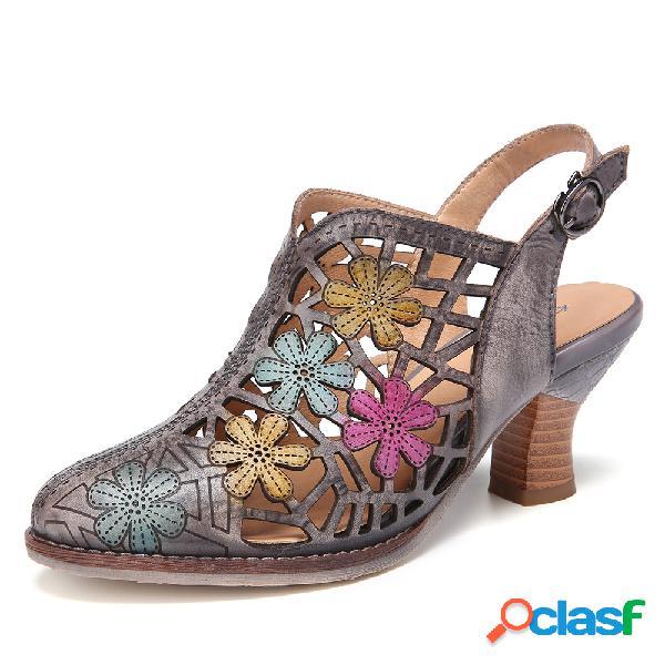 Socofy cuero envejecido con hebilla de recorte floral correa destalonada punta puntiaguda tacón grueso sandalias