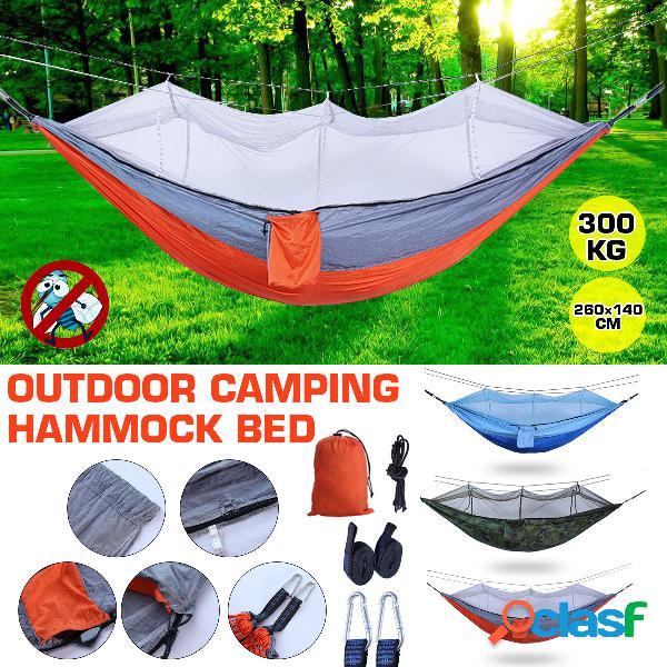 Individual doble cámping hamaca con mosquitera portátil al aire libre mosquitera hamaca carpa paracaídas cámping cama para dormir