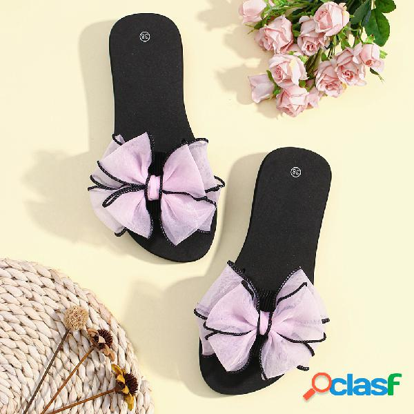 Mujer black border bow decor platform zapatillas