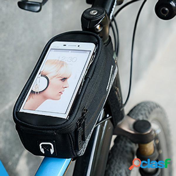 Bicicleta bolsa mountain bbike front beam bolsa teléfono bolsa teléfono para montar bolsa al aire libre herramientas
