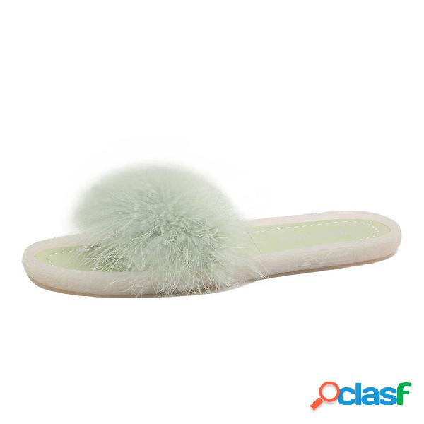 Mujer sweet plush furry decor comfy soft sole cute zapatillas