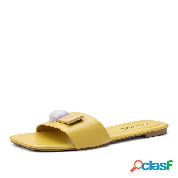 Mujer sweet decor square toe comfy antideslizante playa zapatillas