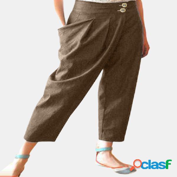 Casual de cintura alta de color liso irregular pantalones para mujer