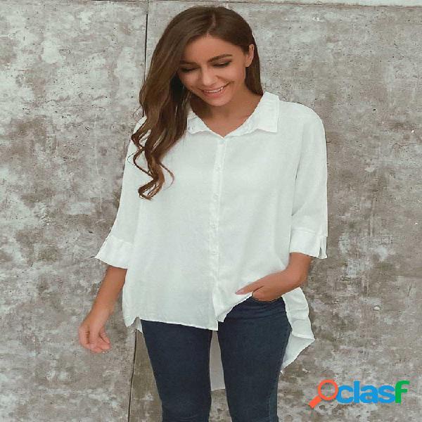 Solapa de manga larga irregular del color sólido camisa para mujer