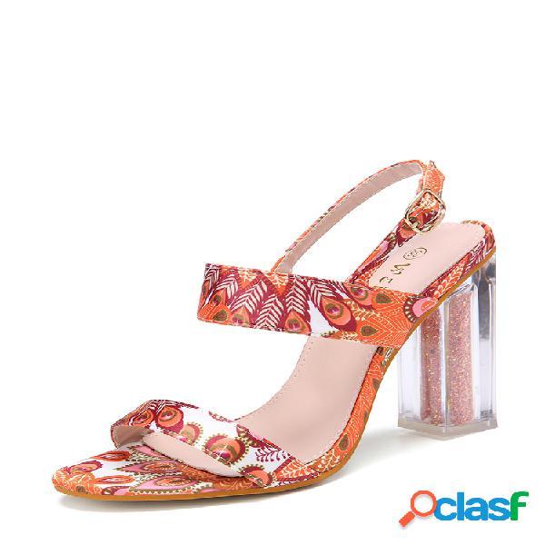 Mujer the oeacock patrón decor buckle zapatos de tacón grueso