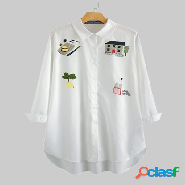 Solapa de manga larga estampada de dibujos animados plus tamaño camisa