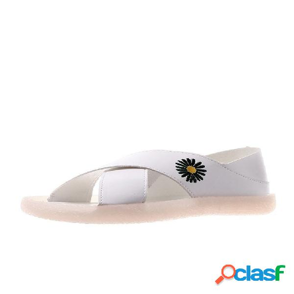 Mujer daisy decor cross banda comfy soft suela playa sandalias