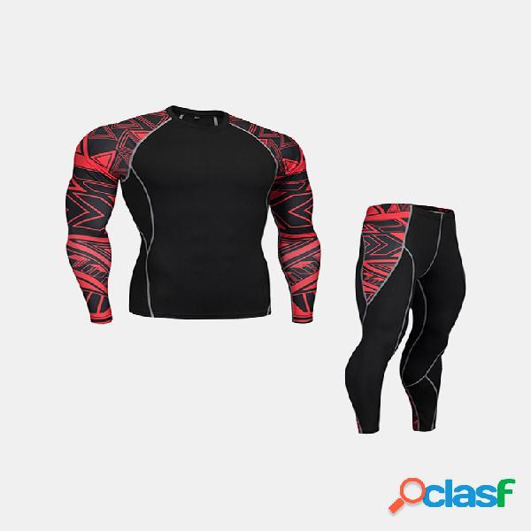Pro hombre compresión traje de deporte de corte ajustado transpirable de secado rápido aptitud