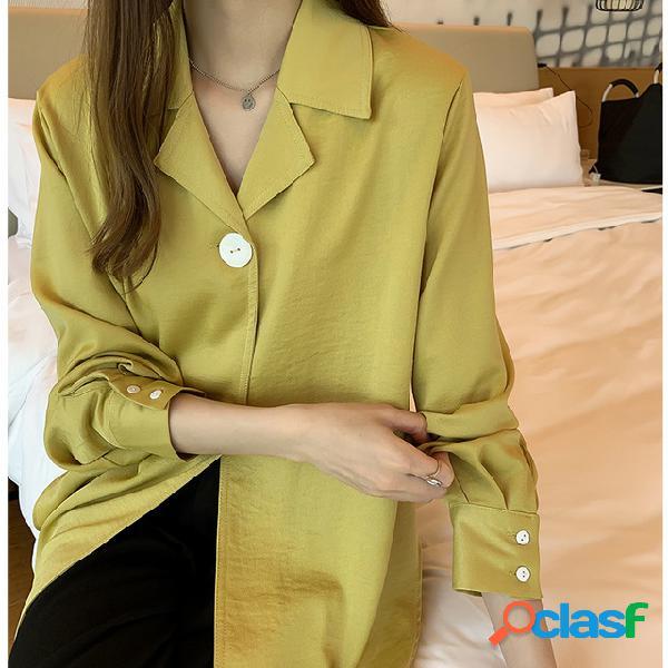 Año nuevo temperamento blanco camisa femenino diseño sentido minoría camisa manga larga camisa fondo camisa marea