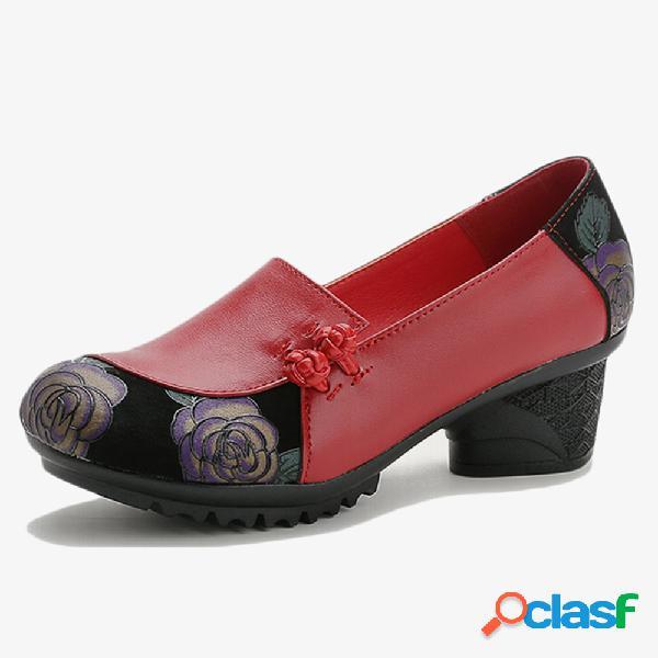 Mujer soft zapatos madre de cuero slip de empalme en bombas de tacón grueso