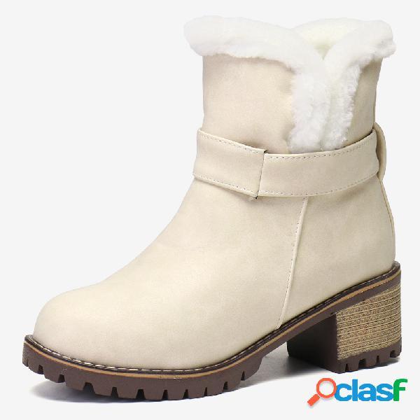 Plus talla gamuza antideslizante cálido resbalón en el tobillo de tacón grueso botas