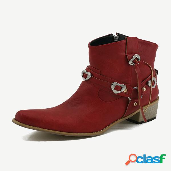 Plus talla pu metal decoración puntiaguda tacón grueso cremallera tobillo causal botas