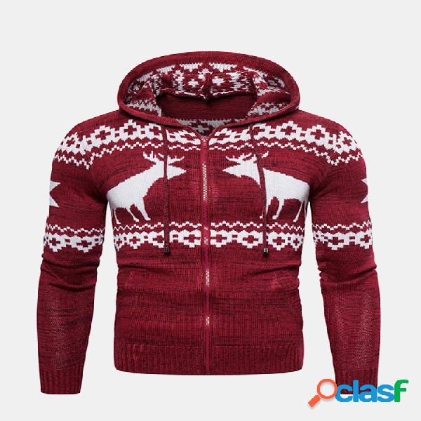 Abrigo con capucha de punto de manga larga estampado de ciervos de navidad para hombre de moda
