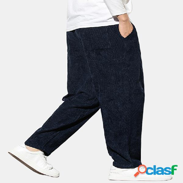Cordón de pana color liso casual para hombre pantalones
