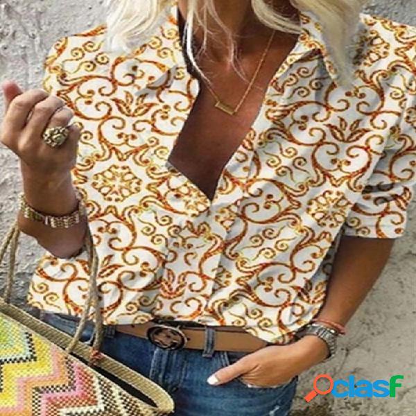 Solapa de manga larga con estampado étnico vendimia camisa para mujer