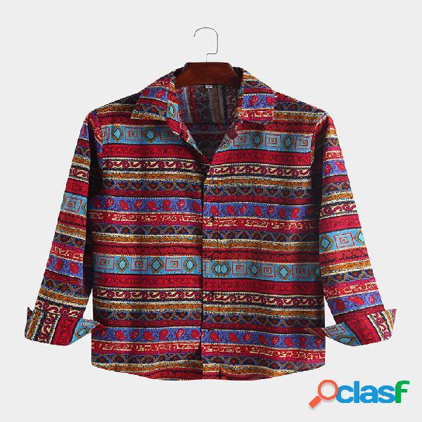 Solapa de manga larga estampada floral étnica de lino para hombre camisa
