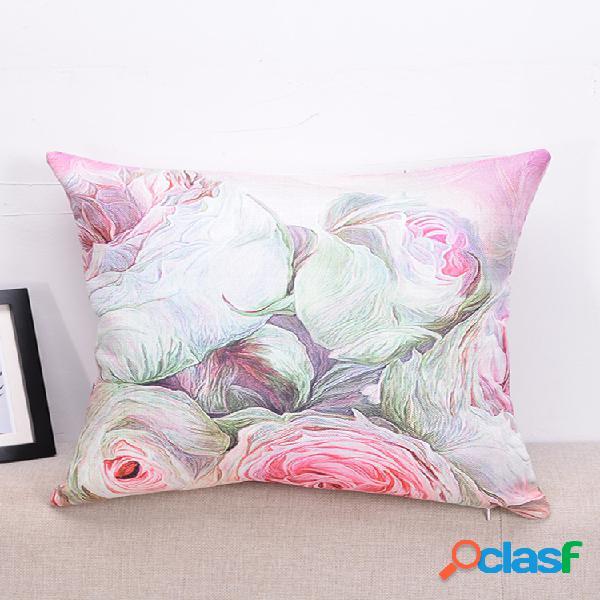 Flores impresas en 3d creativas patrón funda de cojín de lino sofá para el hogar decoración artística fundas de almohada para el asiento trasero