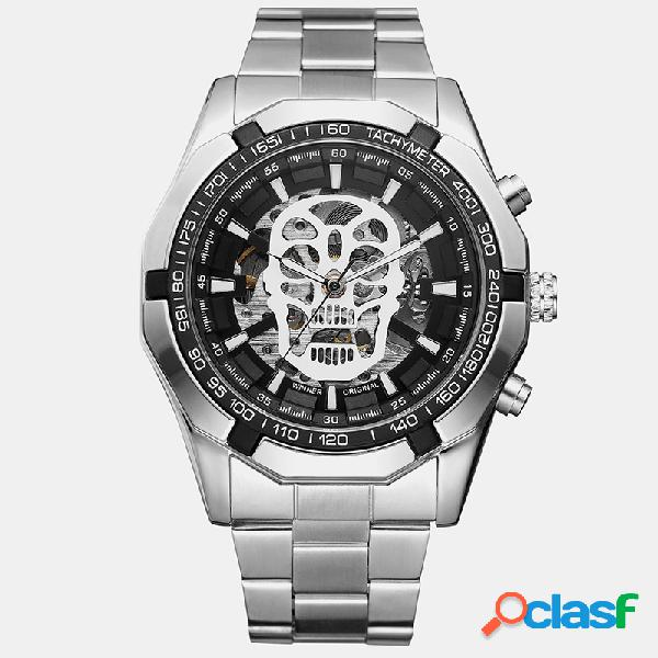 Relojes deportivos de moda para hombre, esfera hueca, acero inoxidable banda impermeable relojes electrónicos