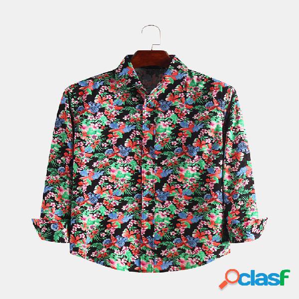 Hombres colorful estampado floral casual manga larga solapa camisa
