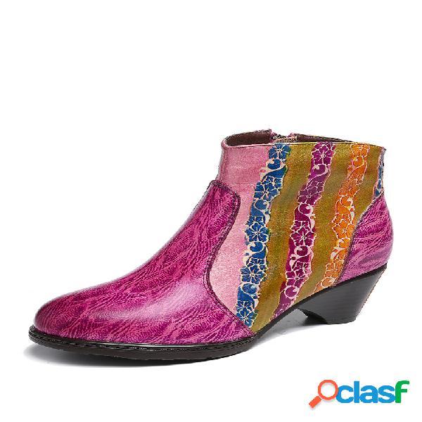 Socofy tobillo de textura de cuero con costuras de rayas arcoíris pintado a mano botas para mujer