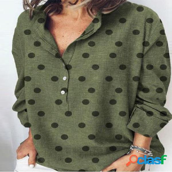 Solapa de lunares manga larga solapa plus talla camisa