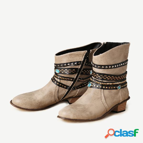 Talla grande mujer retro remache tiras cremallera tacón grueso vaquero botas