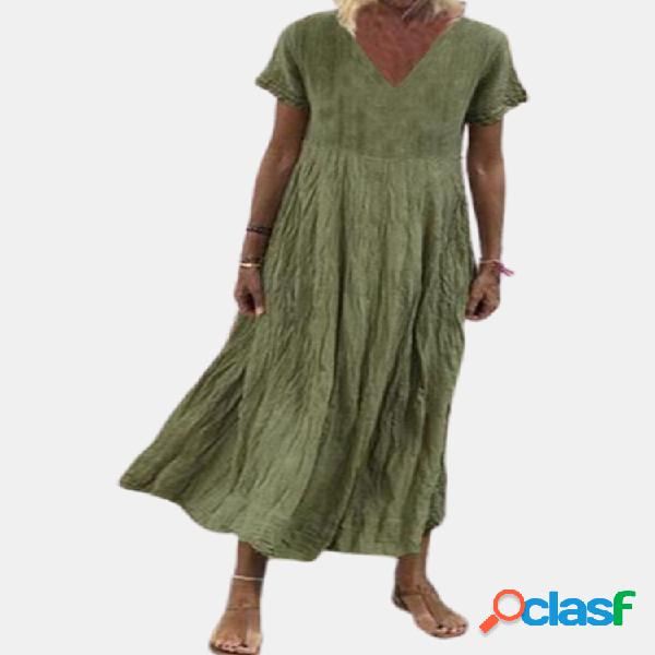 Casual color liso con cuello en v plus talla vestido
