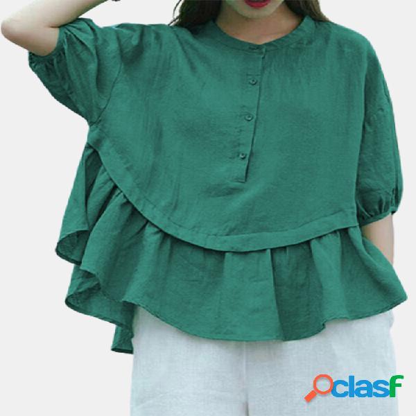 Muñeca con puño elástico plisado de color sólido plus blusa de tamaño